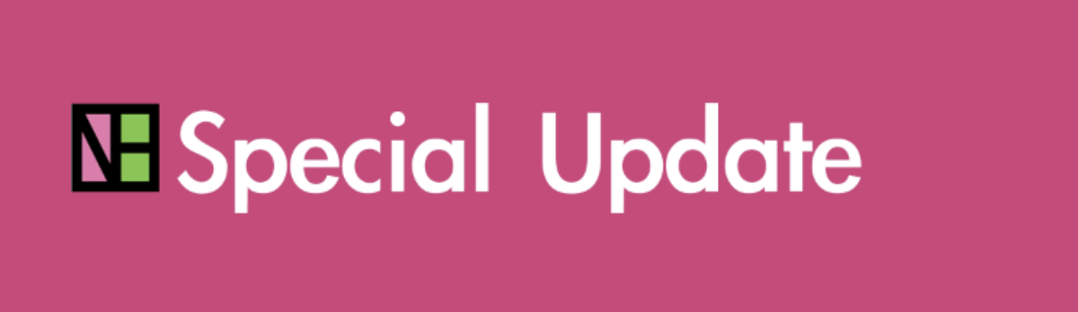 pink banner that says special update