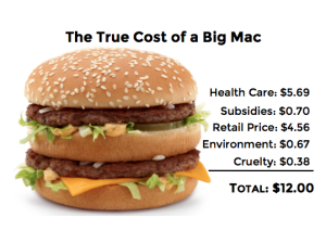 Shawing the true cost of a big mac includes healthcare, subsidies, retail price, enviroment, and cruelty