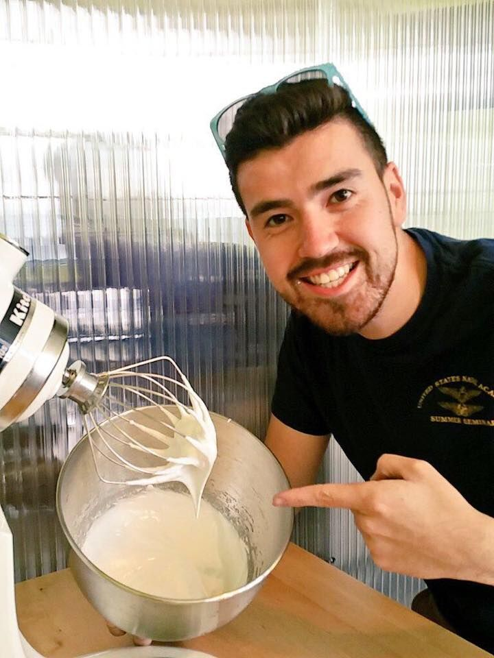 Arturo whipping up hen-free egg whites.