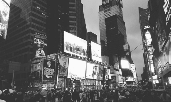 black and white photo of Times Square