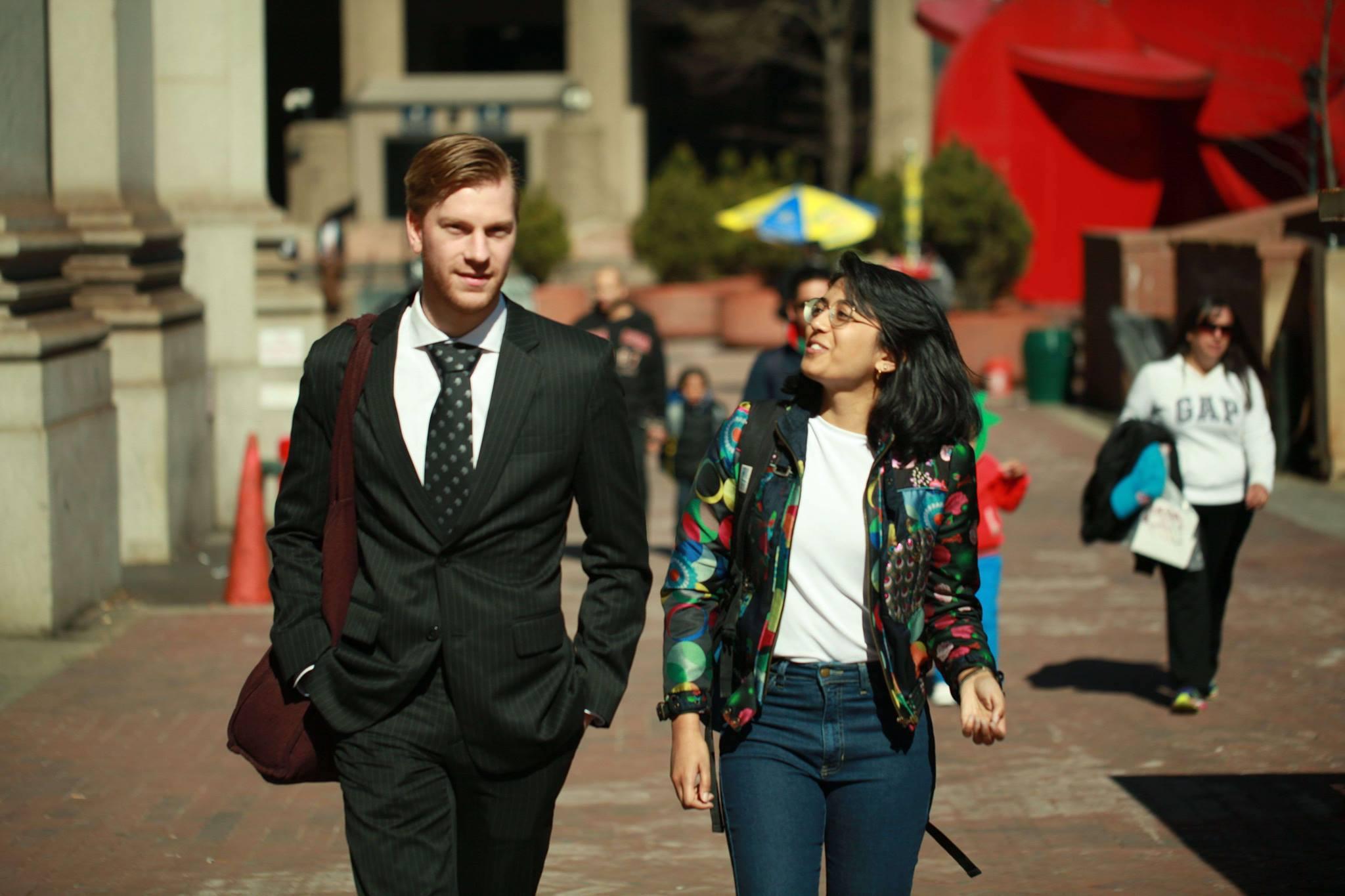 Dan and Isha walking together