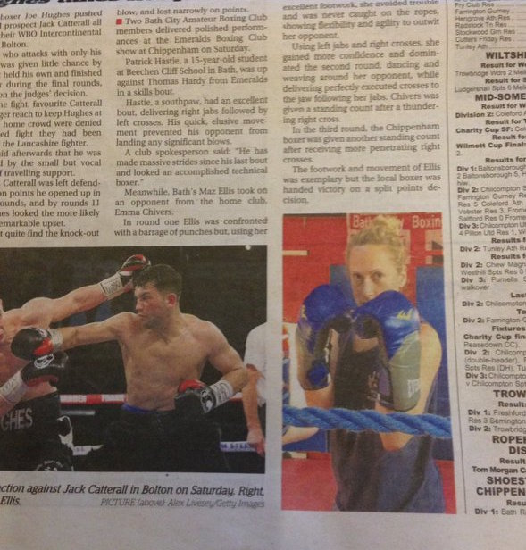 Photo of Marianne in the newspaper posing with boxing gloves