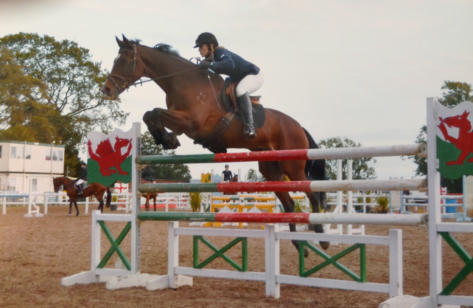 Marianne on a horse jumping over a post