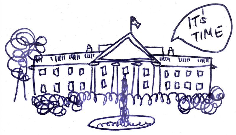 simple sketch of the White House with a text bubble saying 'its time'