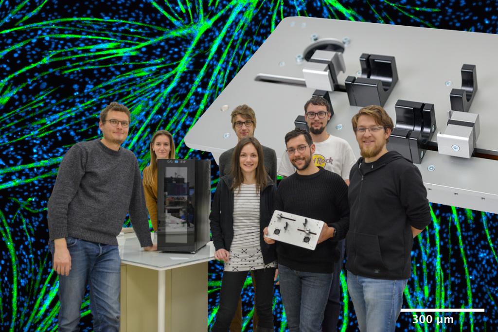 IRNAS team with bioreactor