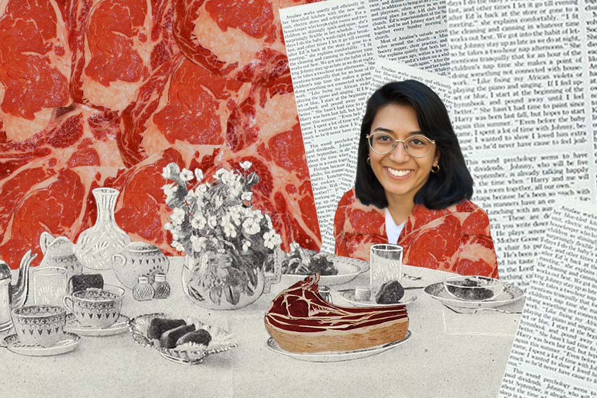 Isha Datar at table with meat