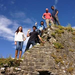 Natalie, Isha and Perfect Day Founders on wall in Ireland