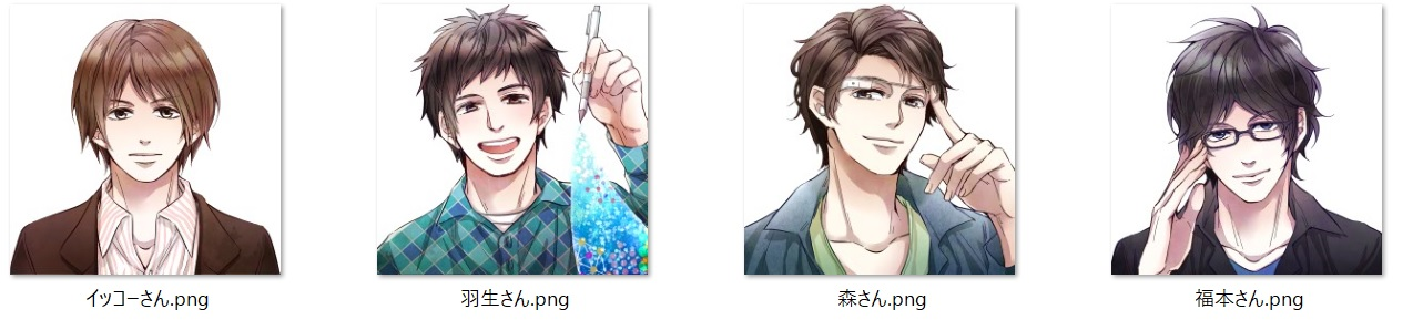 Anime style illustrations of the Shojinmeat research team