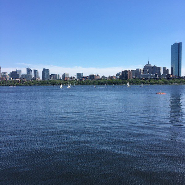 A view of Boston and the Charles River, taken from the MIT Media Lab