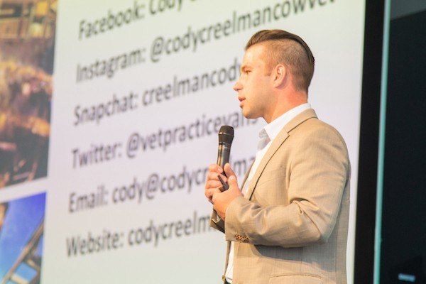 Canadian cattle veterinarian Cody Creelman shared his thoughts and concerns about cellular agriculture in a presentation