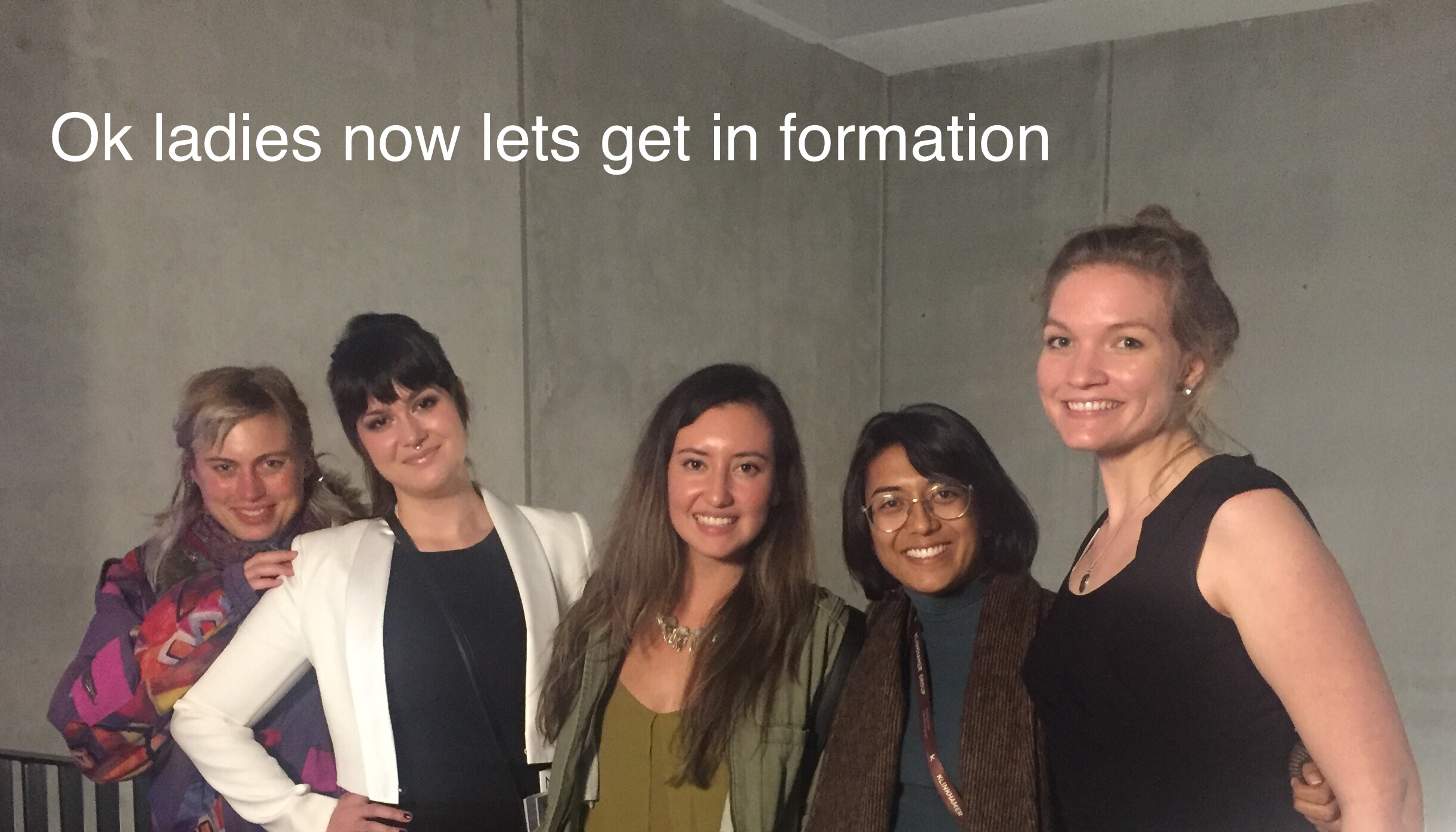 Jess with Isha and New Harvest Research Fellows Abi, Natalie, and Marie at the 2ndInternational Cultured Beef Symposium, October 2016