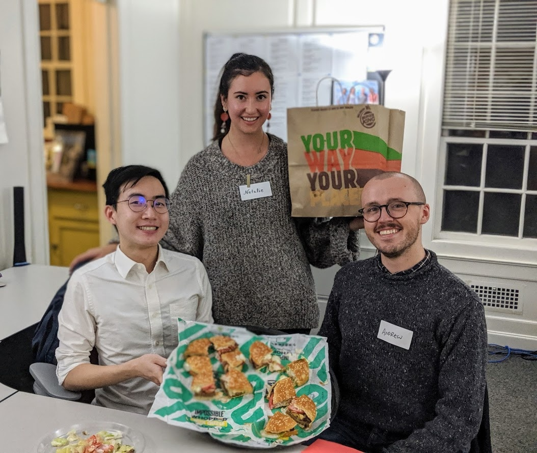 From left to right: John, Natalie, and Andrew, New Harvest research fellows in the Kaplan Lab at Tufts University. They co-taught a cellular agriculture course for undergraduate students in Tufts Experimental College.