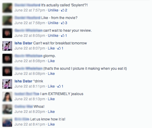 Facebook comments on soylent
