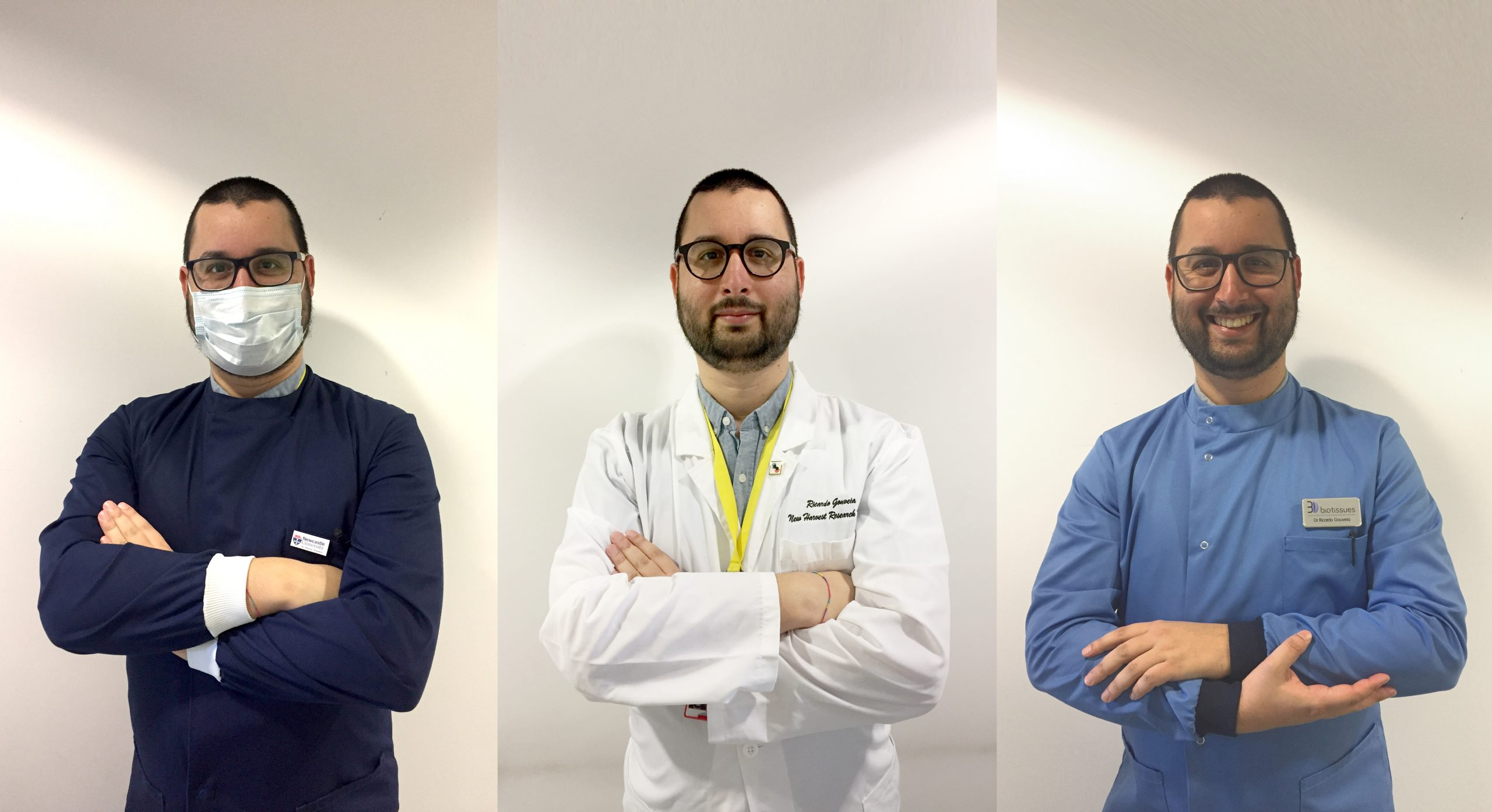 Ricardo Gouveia in three different lab coats